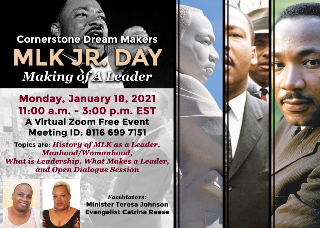 Cornerstone Dream Makers MLK JR Day Flyer
